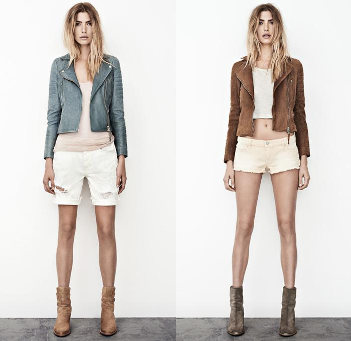 5a) Sail Premium Italian Leather Biker Jacket & Cole Carson Cut Off Shorts Boyfriend