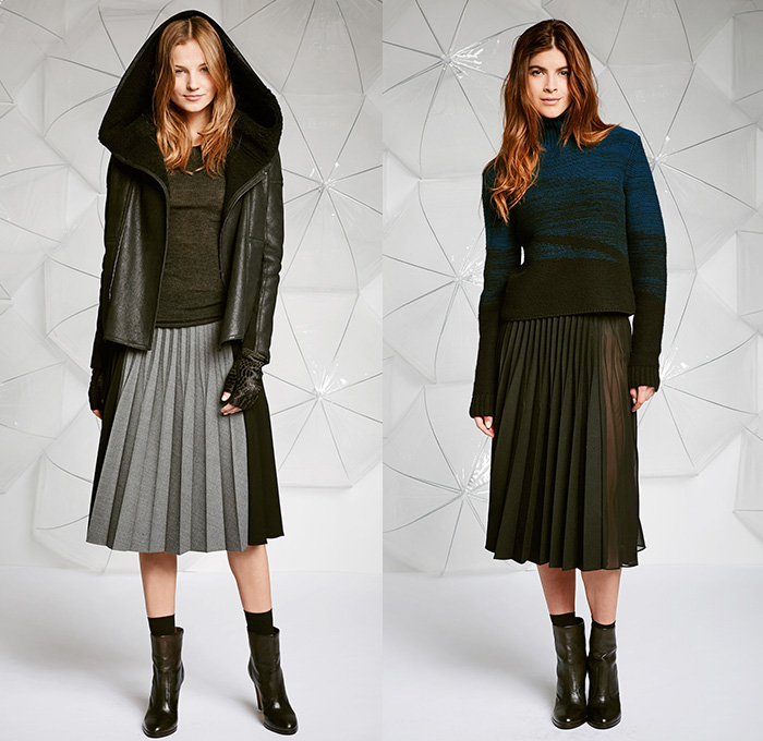 Elie Tahari 2014-2015 Fall Autumn Winter Womens Lookbook Presentation - Jogging Sweatpants Knit Cap Beanie Outerwear Coat Jacket Lace Crochet Sweater Jumper Boots Crop Top Midriff 3D Cutout Furry Ribbed Snake Reptile Multi-Panel Leggings Waffle Quilted Scarf Turtleneck Mohair Skirt Frock Accordion Pleats Sweatshirt Hoodie Dress Zipper Panels Motorcycle Biker Rider - New York Fashion Week NYFW