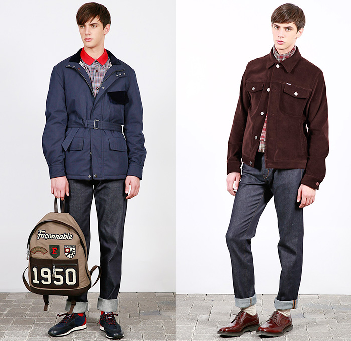 59aaa0cc697fe9 (01a) French Blue Motorcycle Parka In Cotton Nylon with Navy Corduroy Trim  - Shirt