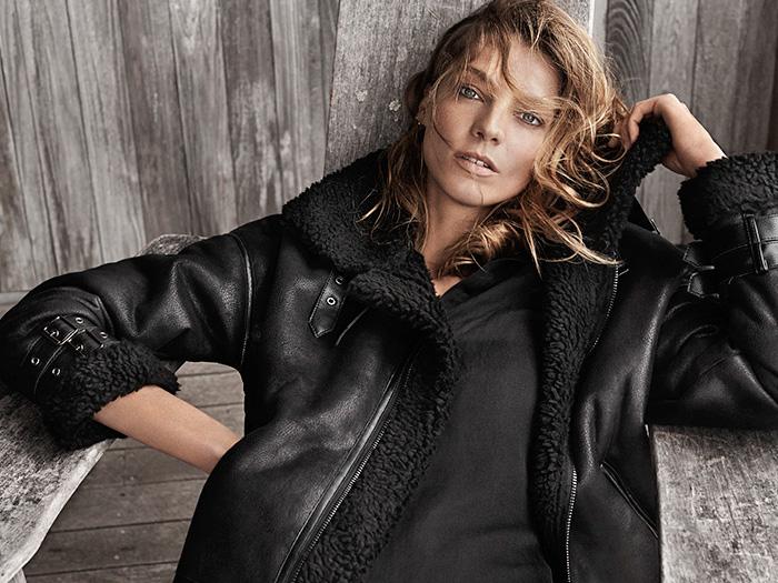 dd2905e23b ... mango-spain-2014-2015-fall-autumn-winter-fashion-womens -daria-werbowy-destroyed-denim-jeans-jacket-shearling-leather -knit-scarf-plaid-coat-cardigan-01x. ...