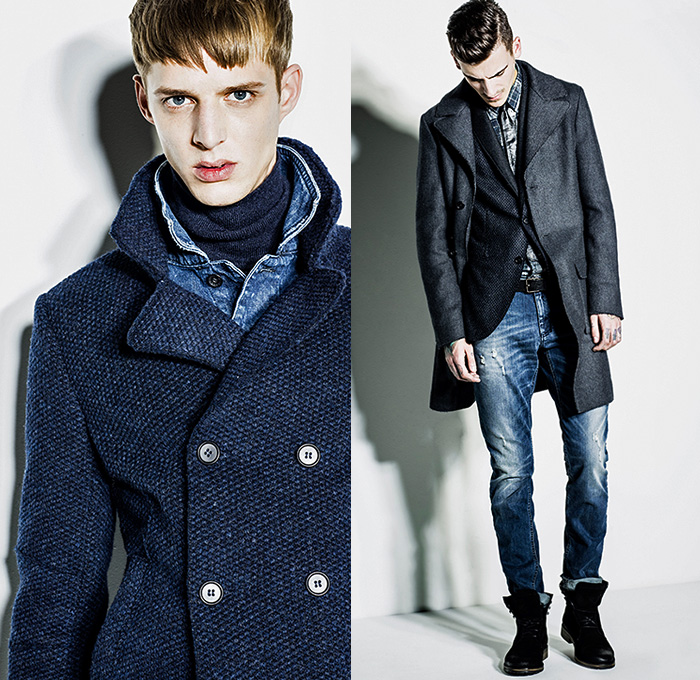 aa83d5def7 Sisley Italy 2014-2015 Fall Autumn Winter Mens Lookbook Collection - Denim  Jeans Peacoat Outerwear