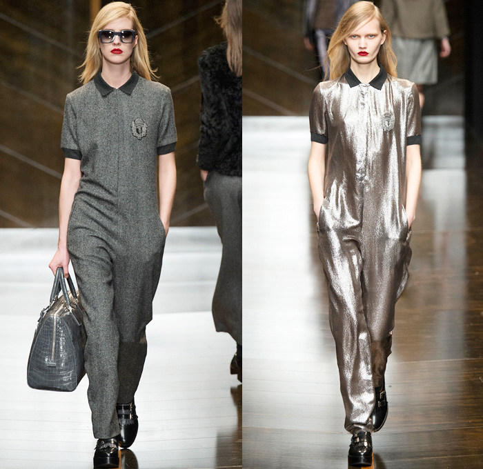 Trussardi 2014-2015 Fall Autumn Winter Womens Runway Looks - Milano Moda Donna Milan Fashion Week - Camera Nazionale della Moda Italiana - Onesie Jumpsuit Playsuit Emblem Coatdress Checks Zebra Motif Bomber Jacket Coat Zigzag Knit Turtleneck Sweater Jumper Skirt Frock Trucker Shirt Leather Stripes Furry Reptile Snake Pantsuit Blazer Wide Leg