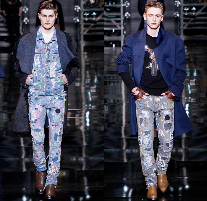 Versace 2014 2015 Fall Winter Mens Runway Denim Jeans
