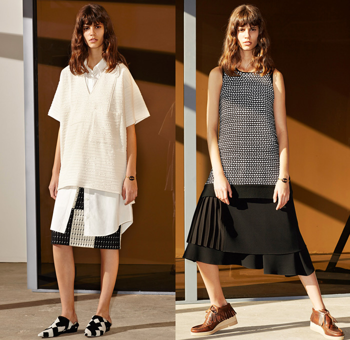 10 Crosby Derek Lam 2014 Pre Fall Womens Presentation - Pre Autumn Collection Looks - Menswear Masculine Accents Wide Leg Palazzo Pants Culottes Pinstripe Windowpane Racing Checks Patchwork Sporty Sweatpants Jumpsuit Furry Vest Coat: Designer Denim Jeans Fashion: Season Collections, Runways, Lookbooks and Linesheets