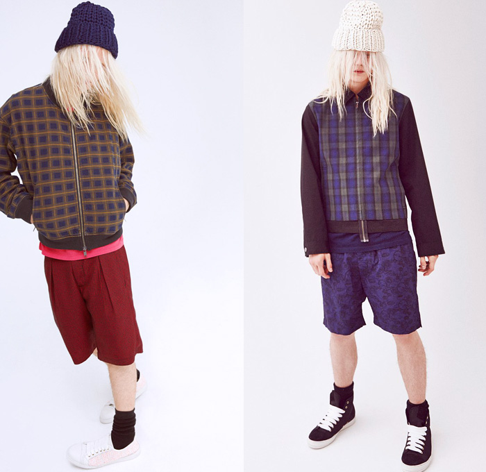Marc by Marc Jacobs 2014 Pre Fall Mens Presentation - Pre Autumn Collection Looks - Retro Faded Denim Jeans Outerwear Parka Plaid Digital Prints Bomber Jacket Shorts Suit Eyes Knit Beanie Cap: Designer Denim Jeans Fashion: Season Collections, Runways, Lookbooks and Linesheets