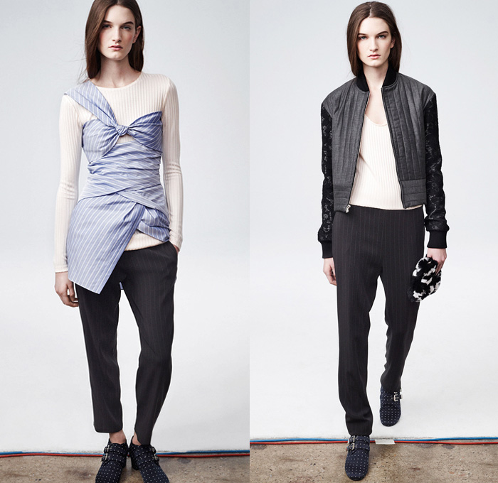 Thakoon 2014 Pre Fall Womens Presentation - Thakoon Panichgul Designer Pre Autumn Collection - Sporty Banded Hem Jogging Sweatpants Shorts Lace Sheer Chiffon Peek-A-Boo V-Neck Knitwear Sweater Jumper Pinstripes Ribbon Drapery Animal Safari Leopard Flowers Florals Petals Jumpsuit Onesie: Designer Denim Jeans Fashion: Season Collections, Runways, Lookbooks and Linesheets