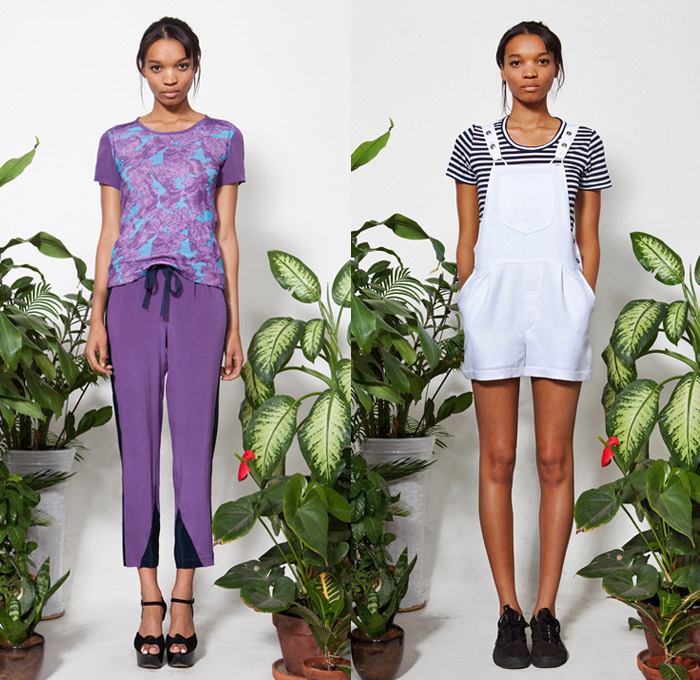 Wren 2014 Pre Fall Womens Presentation - Pre Autumn Collection Looks Melissa Coker Designer - Lounge Roomwear Cropped Pants Spaghetti Noodle Strap Crop Top Midriff Bandeau Bralette Flowers Florals One Piece Onesie Romper Combishorts Lace Peek-A-Boo Dress Shorts Stripes Ornamental Print: Designer Denim Jeans Fashion: Season Collections, Runways, Lookbooks and Linesheets