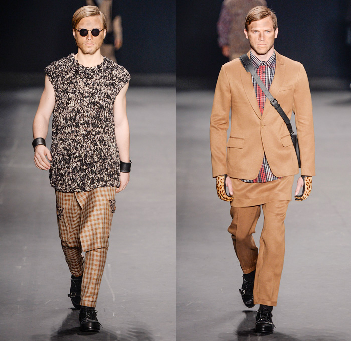 HERCHCOVITCH;ALEXANDRE 2014 Winter Mens Runway Collection - São Paulo Fashion Week Brazil - Inverno 2014 Homens Desfiles - Dark Post-Apocalyptic Military Black Leggings Oversized Outerwear Coats Skulls Animal Leopard Checks Print Knitwear Crochet