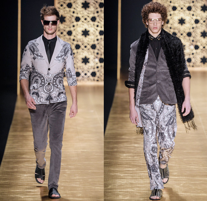 Victor Dzenk 2014 Winter Southern Hemisphere Mens Runway Collection - Fashion Rio Brazil Moda Brasileira - Inverno 2014 Homens Desfiles - Oversized Coats Minimalist Snake Reptile Print Motif Paisley Leaves Grommets Studs Leggings