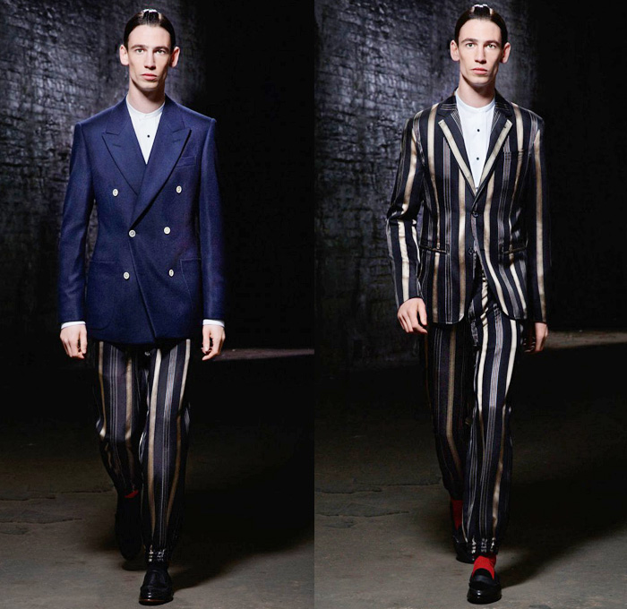 Alexander McQueen 2014 Pre Spring Mens Collection - Cruise Resort - Cargo Pockets Colored Denim Jeans Red Outerwear Trench Coat Jacket Blazer Shawl Collar Windowpane Check Sporty Loungewear: Designer Denim Jeans Fashion: Season Collections, Runways, Lookbooks and Linesheets
