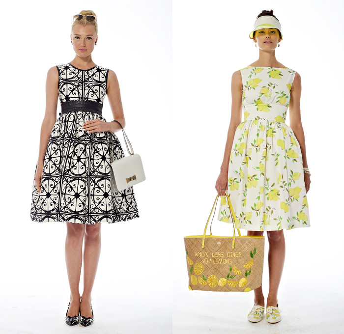 Kate Spade 2014 Spring Womens Presentation - New York Fashion Week - Windowpane Checks Abstract Florals Fruits Lemons Print Patterns: Designer Denim Jeans Fashion: Season Collections, Runways, Lookbooks and Linesheets
