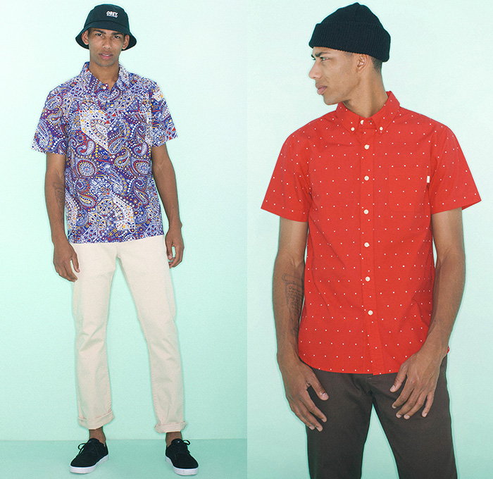 (01a) Burn Out Shirt - (01b) Franklin Shirt - OBEY Clothing 2014 Summer Mens Lookbook Fashion Collection - Chinos Khakis Slacks Paisley Print Motif Pattern Polka Dots Button Down Polo Shirt Short Sleeve Tropical Leaves Foliage Kaleidoscope Shorts Bucket Hat