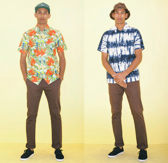 (02a) Kalea Shirt - (02b) Naples Bucket Hat - Ludlow Shirt - OBEY Clothing 2014 Summer Mens Lookbook Fashion Collection - Chinos Khakis Slacks Paisley Print Motif Pattern Polka Dots Button Down Polo Shirt Short Sleeve Tropical Leaves Foliage Kaleidoscope Shorts Bucket Hat