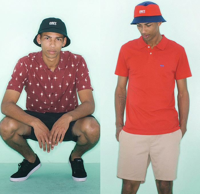 (03a) Pueblo Shirt - (03b) Worldwide Bucket Hat - OBEY Clothing 2014 Summer Mens Lookbook Fashion Collection - Chinos Khakis Slacks Paisley Print Motif Pattern Polka Dots Button Down Polo Shirt Short Sleeve Tropical Leaves Foliage Kaleidoscope Shorts Bucket Hat