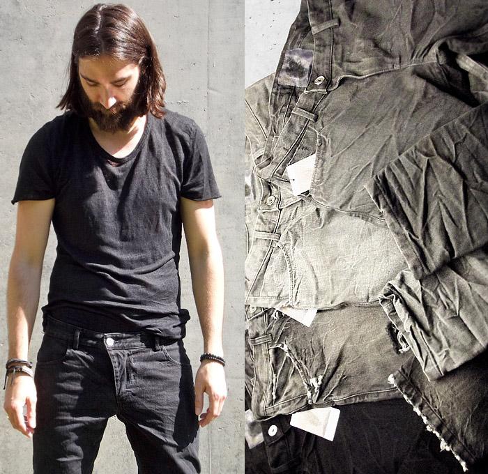 Versuchskind Berlin 2014 Spring Summer Mens Collection - Denim Jeans Twist Fit Tapered Grunge Wash Destroyed Destructed: Designer Denim Jeans Fashion: Season Collections, Runways, Lookbooks and Linesheets