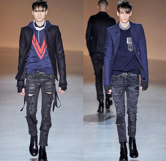 ... Denim Jeans Zippers Cargo Pockets Blazer Patchwork Parka Metal Studs