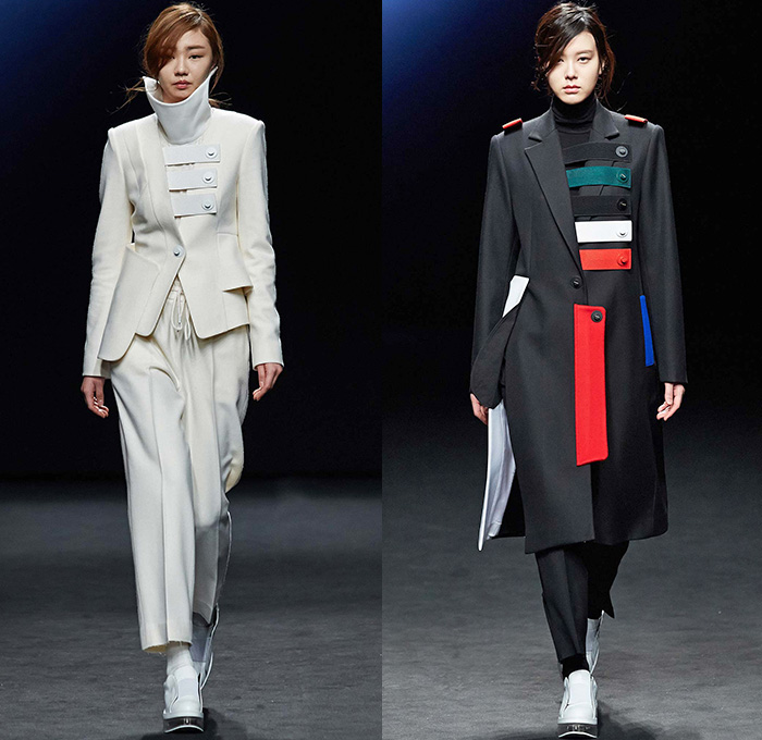 Kaal E.Suktae by Suk Tae Lee 2015-2016 Fall Autumn Winter Womens Runway Catwalk Looks - Seoul Fashion Week South Korea - Pop Art Cartoon Embroidery Outerwear Coat Bomber Jacket Military Cargo Pockets Utilitarian Banded Straps Turtleneck Tights Stockings Boots Drawstring Hoodie Dress Moto Biker Rider White Ensemble Coatdress Blazer Pants Trousers Skirt Frock Dovetail Mesh Lace Shirtdress