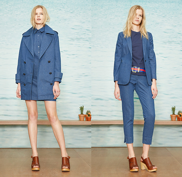 Band of Outsiders 2015 Pre Fall Autumn Womens Lookbook Presentation - Denim  Jeans Peacoat Shirtdress Suede