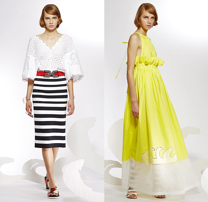 Tsumori Chisato 2015 Resort Womens Lookbook Presentation - 2015 Cruise Pre Spring Fashion Pre Collection - Pop Art Prints Motif Dress Dolphins Stripes Waves Sheer Chiffon Peek-A-Boo Lace Mesh Gladiator Sandals Capelet Outerwear Coat Wide Leg Trousers Palazzo Pants Embellishments Marine Life Ruffles Halter Top Belted Waist Dots Handkerchief Hem Embroidery Blouse Rope Knit Half Skirt Rainwear Anorak Hoodie Sweater Jumper Sunburst White Dress