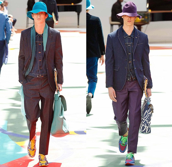 Burberry Prorsum 2016 Spring Summer Mens Runway Looks Denim Jeans. Cabby Hat  Black Grey b15fd27fb4ed