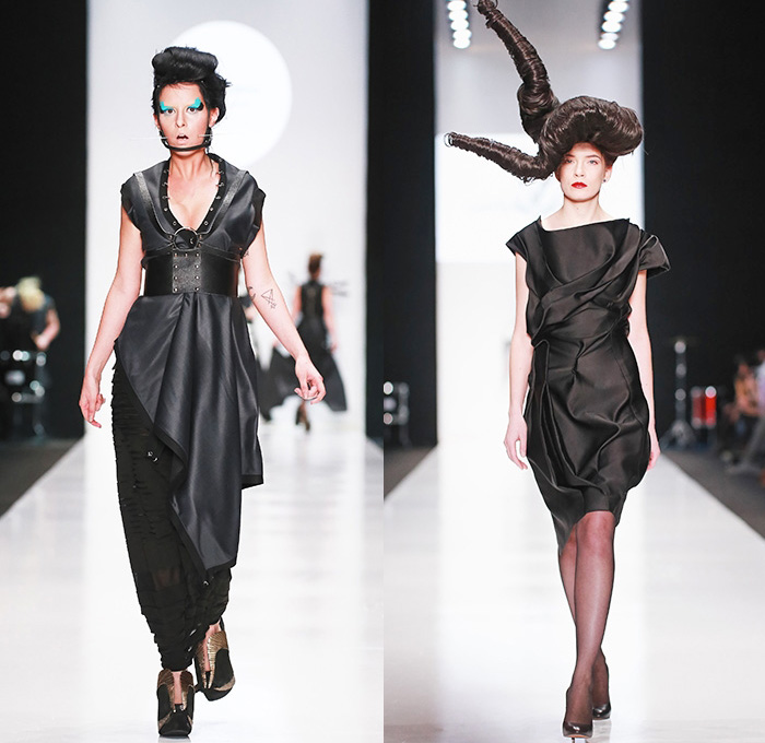CONTRFASHION 2015 Spring Summer Womens Runway Catwalk Looks - Mercedes-Benz Fashion Week Moscow Russia - Circus Carnival Stripes Balloon Skirt Dress Sheer Chiffon Peek-A-Boo Feathers One Off Shoulder Wings Horns Knit Crochet PVC Black Dark Bustier Skirt Frock Ruffles Loops Leggings Gown