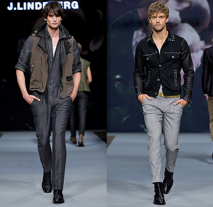 J.Lindeberg 2015 Spring Summer Mens Runway Catwalk Looks - Fashion Week Stockholm Sweden - Biotopia Urban Wilderness Dark Rock n Roll Motorcycle Biker Rider Leather White Denim Jeans Seventies 1970s Vest Waistcoat Pants Trousers Mesh Zebra Jungle Safari Animal Print Leopard Cheetah Rollneck Turtleneck One Piece Onesie Jumpsuit Boiler Suit Salopette Coveralls Outerwear Jacket Blazer Trench Coat Long Sleeve Shirt One Button Suit