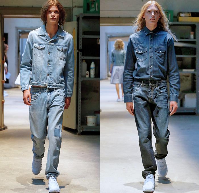 Mens Jeans Elastic Waistband