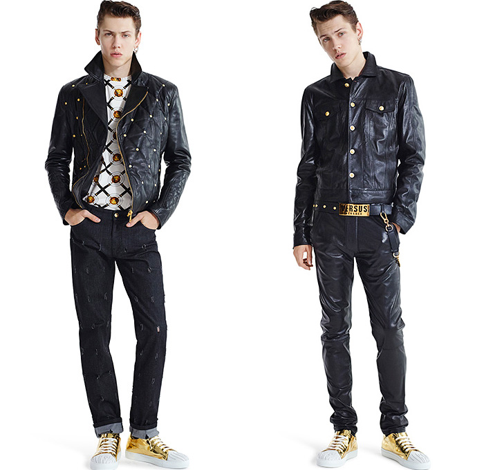 Versus Versace 2015 Spring Summer Womens Mens Lookbook - Destroyed Denim Jeans Destroyed Mesh Streetwear Gold