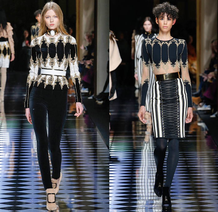 Balmain 2016-2017 Fall Autumn Winter Womens Runway Catwalk Collection Looks - Paris Fashion Week Mode à Paris France - Corset Pearls Tassels Fringes Beads Velvet Ornamental Embroidery Bedazzled Jewels Sheer Lace Cutout Shoulders Coat Stripes Silk Satin Furry Suede Jacquard Miniskirt Dress Gown Eveningwear Bulb Onion Skirt Leggings Stockings Tiered Check Jacket Blazer Wide Belt Knitwear Thigh High Boots
