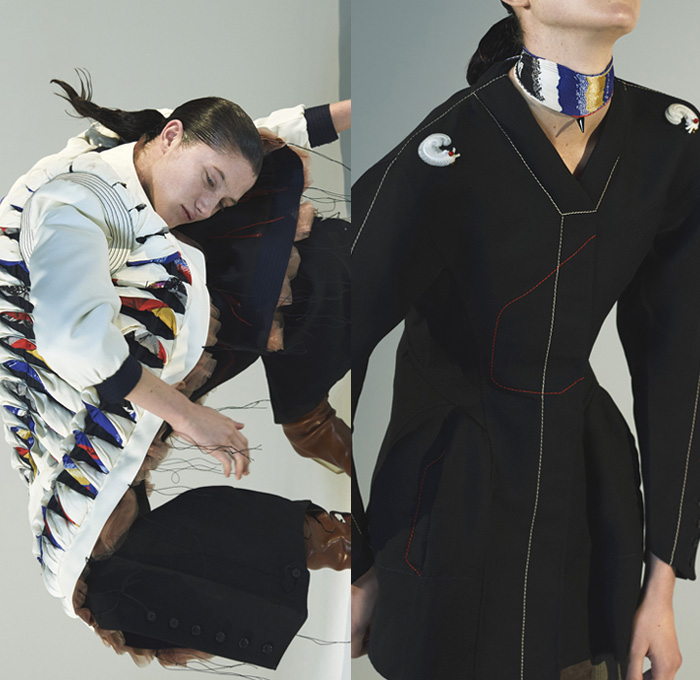 Thomas Tait 2016-2017 Fall Autumn Winter Womens Lookbook Presentation - Paris Fashion Week Mode à Paris France - Denim Jeans Boro Patchwork Quilted Frayed Raw Hem Threads Web Feet Flare Bell Bottom Outerwear Coat Boots Panels Buttons Deconstructed Cargo Pockets Velvet Leggings Blouse Sheer Tulle Choker