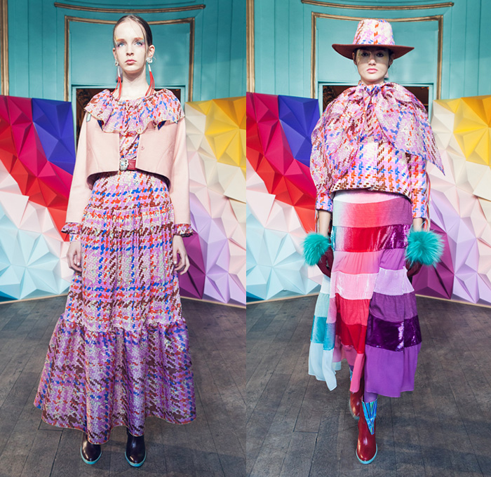 Tsumori Chisato 2016-2017 Fall Autumn Winter Womens Lookbook Presentation - Paris Fashion Week Mode à Paris France - Denim Jeans Diamonds Jacquard Beads Metallic Stones Doily Fringes Stars Hat Skirt Frock Embroidery Bedazzled Sequins Knit Sweater Jumper Turtleneck Wide Leg Trousers Furry Shaggy Outerwear Coat Stripes Pussycat Bow Blouse Tweed Bell Sleeves Stockings Zigzag Lace Flapper Dress Noodle Strap 1970s Seventies
