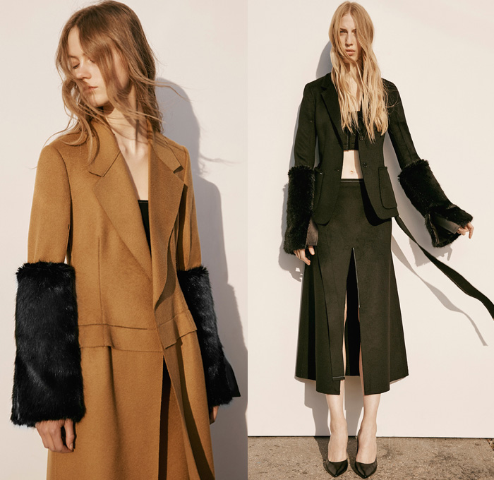 4c81c5fe98 Calvin Klein Collection 2016 Pre Fall Autumn Womens Lookbook Presentation -  Sleek Outerwear Long Trench Coat