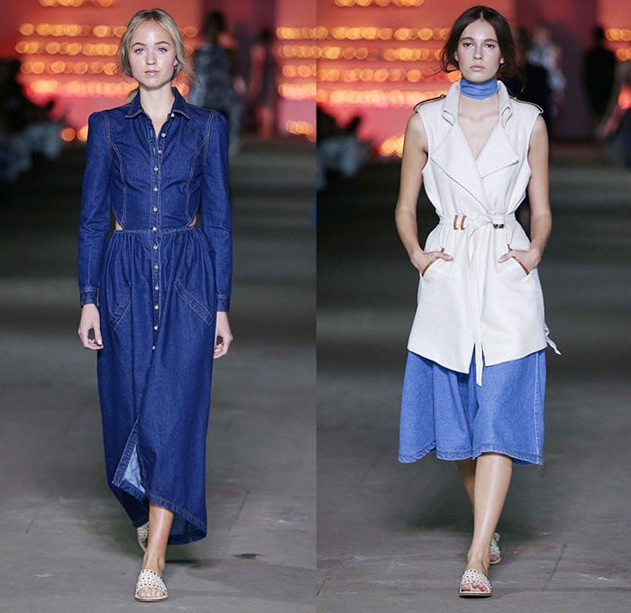 Maxi dress and denim waistcoats
