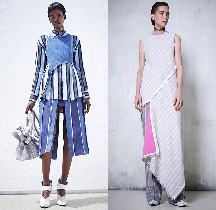 Acne Studios 2016 Resort Cruise Pre-Spring Womens Lookbook Presentation - Denim Jeans Patchwork Wide Leg Trousers Palazzo Pants Frayed Raw Hem Straps Apron Bib Blouse Long Sleeve Stripes High Slit Skirt Frock Dress Noodle Spaghetti Strap Flowers Florals Print Sheer Chiffon Tie Up Outerwear Trench Coat Plaid Tartan Cargo Pockets Poplin Linen Silk