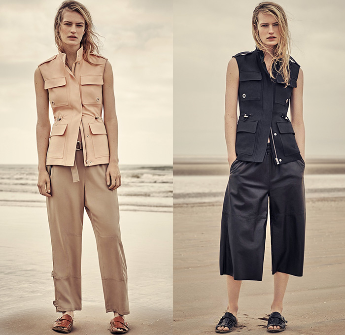 Belstaff England 2016 Resort Cruise Pre-Spring Womens Lookbook Presentation - Denim Jeans Quilted Waffle Sandals Outerwear Trench Coat Parka Anorak Hoodie Zipper Knee Panels Cargo Utility Pockets Ribbed Knit Sweater Boots Jogger Sweatpants Blouse Wide Leg Culottes Gauchos Vest Waistcoat Pants Trousers Straps Shirtdress Dovetail Mullet Hem Lace Up Miniskirt Dress Motorcycle Biker Leather