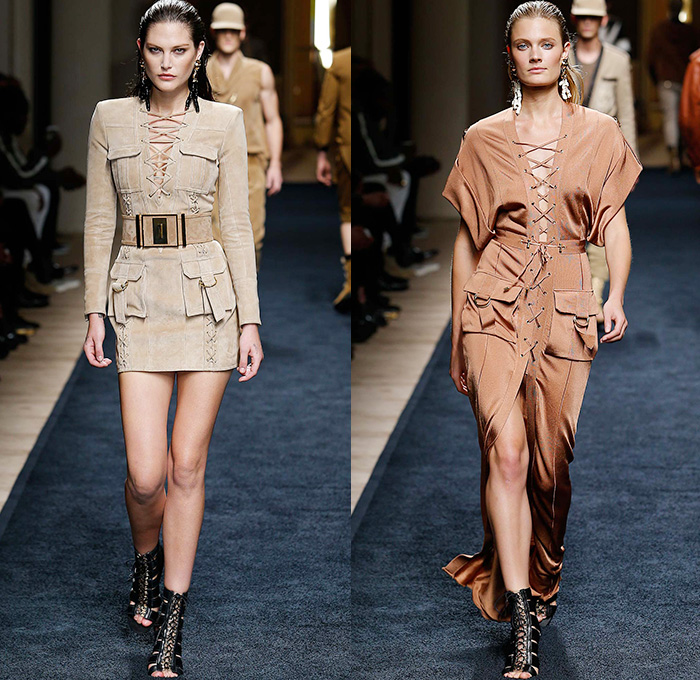 Balmain 2016 Resort Cruise Pre-Spring Womens Runway Catwalk Looks Collection Designer Olivier Rousteing - Safari Desert Mesh Lace Up Grommets Gold Viscose Knit Gown Dress Belted Waist One Shoulder Maxi Dress Cargo Utility Pockets Silk Ribbed Sweater Jumper Embroidery 3D Adornments Bedazzled Halter Top Motorcycle Biker Leather Outerwear Jacket Miniskirt Basketweave Ruffles Tiered Sheer Chiffon