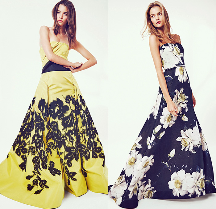 Carolina Herrera 2016 Resort Cruise Pre-Spring Womens Lookbook Presentation - Carnation Flowers Florals Feathers Jacquard Strapless Gown Eveningwear Motif Blouse Embroidery 3D Embellishments Adornments Bedazzled Handkerchief Hem Sheer Chiffon Lace Stripes Outerwear Jacket Wide Leg Trousers Palazzo Pants Culottes Gauchos Maxi Dress Midi Skirt
