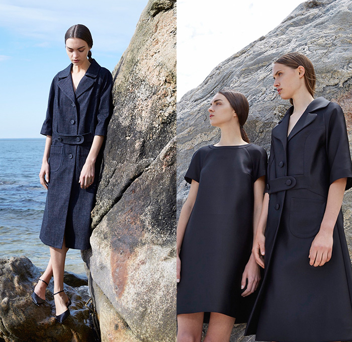 Co Los Angeles 2016 Resort Cruise Pre-Spring Womens Lookbook Presentation - Denim Jeans Lace Up Drawstring Sailor Pants Nautical Ruffles Maxi Dress Goddess Georgette Gown Outerwear Trench Coat Furry Chunky Knit Sweater Jumper Cardigan Tee Waistcoatdress Coatdress Skirt Frock Elongated Sleeves Flowers Florals Sheer Chiffon Metallic Velvet