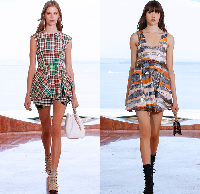 Christian Dior 2016 Resort Cruise Pre Spring Womens Runway Catwalk Looks Collection Designer Raf Simons - Pierre Cardin Bubble Palace French Riviera Cannes France - Gingham Plaid Tartan Check Foil Peplum Accordion Pleats Cargo Pockets Nipped In Embroidery Stripes Kilt Skirt Frock Miniskirt Tiered Silk Ruffles Halter Top Mesh Fauna Leaves Foliage Botanical Print Motif Blouse Outerwear Furry Coat Pantsuit Tankdress