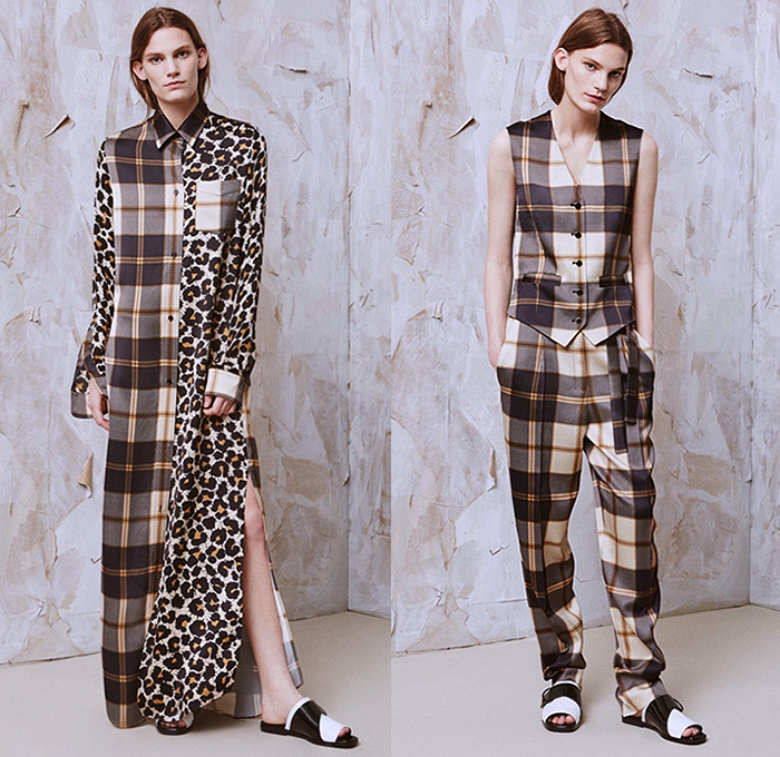 EDUN 2016 Resort Cruise Pre-Spring Womens Lookbook Presentation - La Sape Sapeur Dandy 1950s Fifties Animal Jungle Leopard Cheetah Shirtdress Blousedress Coatdress Plaid Tartan Outerwear Coat Jacket Pants Trousers Knit Sweater Jumper Blouse Long Sleeve Vest Waistcoat Cardigan Embroidery Adornments Dress Gown Eveningwear Accordion Pleats Skirt Frock Stripes Strap D-ring Moto Motorcycle Biker Rider Leather