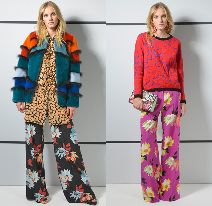 Etro 2016 Resort Cruise Pre-Spring Womens Sneak Peek Lookbook Presentation - Paisley Intarsia Crêpe De Chine Silk Viscose Ruffles Marabou Feathers Furry Outerwear Jacket Blouse Flowers Florals Botanical Prints Graphic Pattern Motif Wide Leg Trousers Palazzo Pants Knit Sweater Ornamental Print Decorative Art Skirt Frock Boots Bohemian Boho Chic