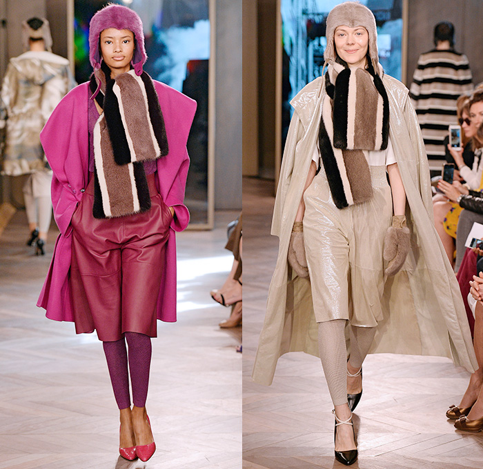 Max Mara 2016 Resort Cruise Pre-Spring Womens Runway Catwalk Looks Collection - Sporty Boxing Gym Pinstripe Chalk Stripes Pantsuit Racerback Vest Waistcoat Mink Mittens Sleepwear Pajamas Shearling Silk Slouchy Shorts Culottes Gauchos Wide Leg Trousers Palazzo Pants Outerwear Coat Jacket Blazer Parka Russian Ushanka Ear Trooper Hat Leggings Furry Shawl Wide Lapel Rope Waist Knit Sweater Flowers Florals