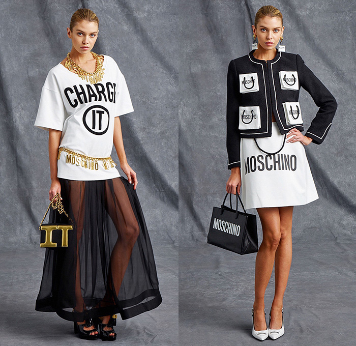 Moschino 2016 Resort Cruise Pre-Spring Womens Looks Presentation - Designer Jeremy Scott - Pop Art Consumerism Sale Tag Tote Bag Pockets Outerwear Coat Jacket Shirtdress Halter Top Wrap Dress Skirt Frock Miniskirt Chain Padlock Credit Card Teddy Bear Heels Footwear Shoes Pants Trousers Drawings Sheer Chiffon Perfume Cologne Bomberdress Pantsuit Big Buttons Jogger Sweatpants Patchwork Knit Moto Biker Swimwear