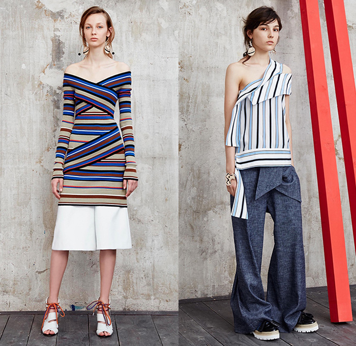 MSGM by Massimo Giorgetti 2016 Resort Cruise Pre-Spring Womens Lookbook Presentation - Macramé Map Shift Dress Stripes Bandage Wrap Fins Wide Leg Trousers Palazzo Pants Culottes One Off Shoulder Strap Peel Away Asymmetrical Handkerchief Hem Check Zigzag Tie-up Knit Sweater Jumper Half Skirt Panel Accordion Pleats Poncho Outerwear Coat Fluid  Mesh Fishnet Lace Handbag Backpack