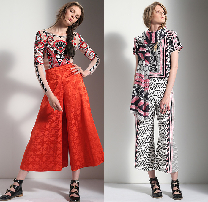 Temperley London 2016 Resort Cruise Pre-Spring Womens Lookbook Presentation - Russian Dolls Native American Indian Navajo Ornamental Print Tribal Ethnic Folk Chambray Denim Jeans Tunic Pantsuit Wide Leg Trousers Palazzo Pants Culottes Check Vest Waistcoat Outerwear Blazer Motorcycle Biker Leather Jacket Blouse Sheer Chiffon Tulle Lace Embroidery Bedazzled Onesie Jumpsuit Coveralls Knit Honeycomb Maxi Dress Silk Gown