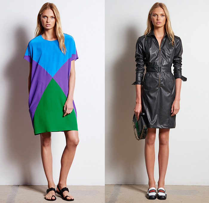 Tomas Maier 2016 Resort Cruise Pre Spring Womens Lookbook Presentation - Denim Jeans Shirtdress Popover Maxi Dress Zipper Frayed Raw Hem Long Sleeve Blouse Drawstring Outerwear Jacket Sandals Mesh Lace V-Neck Shorts Leather Slim Sleeveless Boots Banded Collar Wrap Pencil Skirt Colorful Bold Stripes Cargo Pockets Sweater Panel