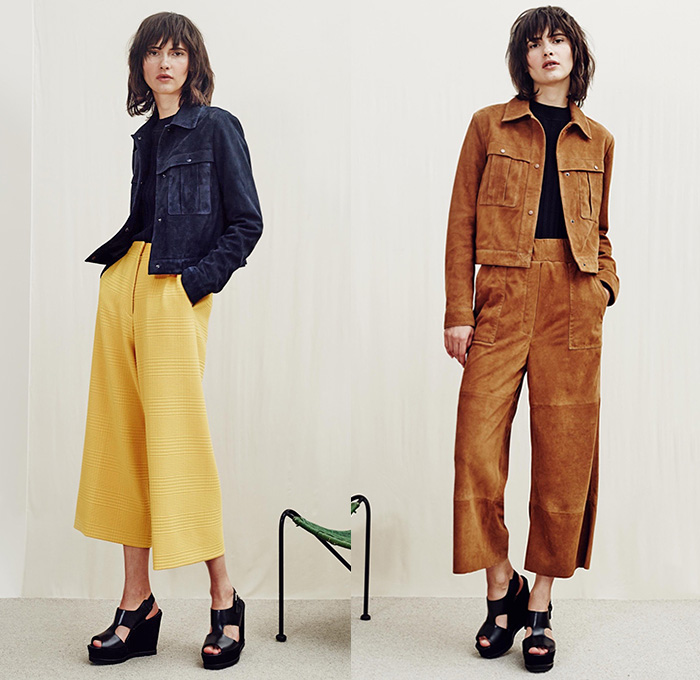 Whistles London 2016 Resort Cruise Pre-Spring Womens Lookbook Presentation - 1970s Seventies Denim Jeans Wide Leg Trousers Palazzo Pants Culottes Gauchos Skirt Frock Outerwear Coat Jacket Furry Knit Sweater Jumper Stripes Onesie Jumpsuit Salopette Coveralls Bib Brace Dungarees Blouse Suede Leather Plaid Tartan Tunic Daisies Flowers Florals Maxi Dress Bag Sandals