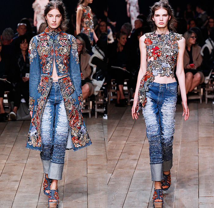 alexander mcqueen runway spring summer 2016 embroidered denim