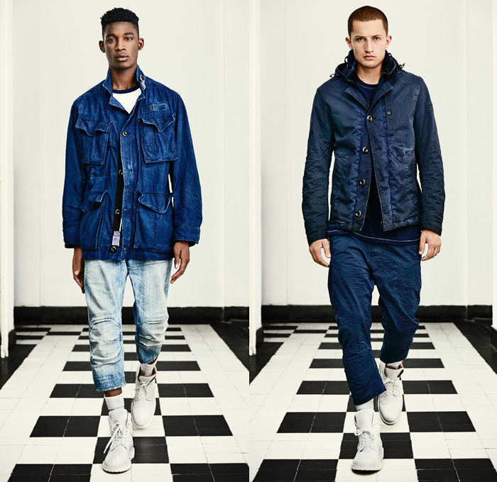 G-Star RAW Amsterdam 2016 Spring Summer Mens Lookbook - Desert Military Camouflage Vintage Distressed Raw Selvedge Denim Jeans Jacket 3D Slim Tapered Blazer Parka Cargo Pockets Knee Panels Boots Indigo Pants Trousers Wrinkled Hoodie Crinkle Paint Stains Splatter Suspenders Shirt Shorts