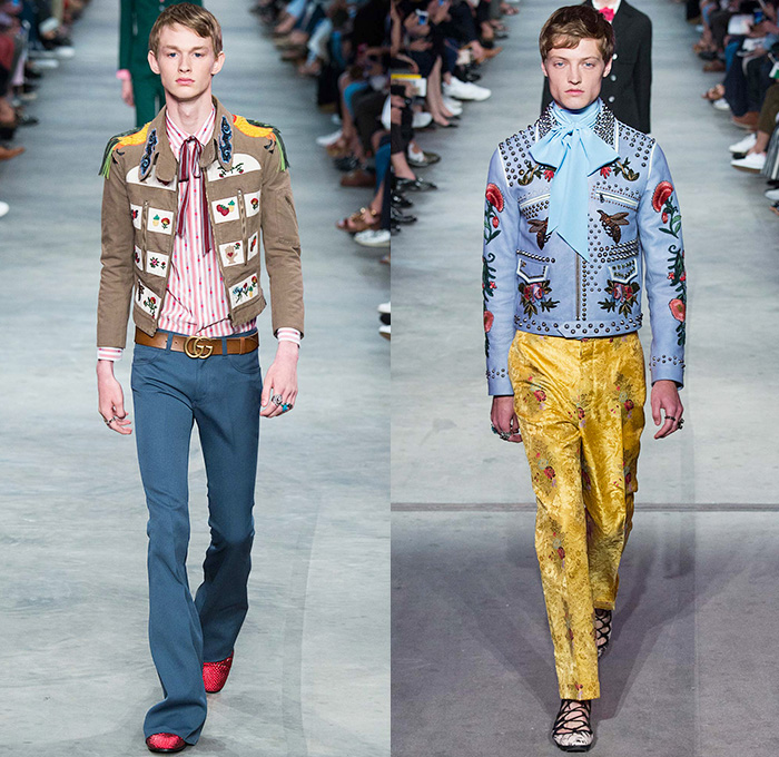 Gucci 2016 Spring Summer Mens Runway Catwalk Looks Denim Jeans Fashion Week Runway Catwalks
